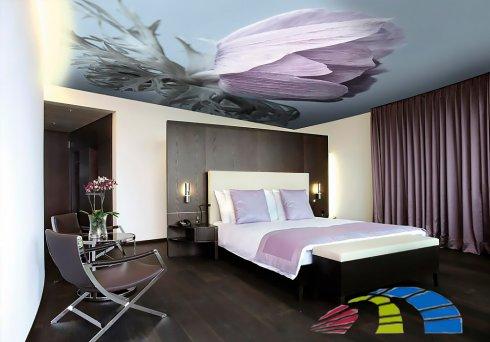 Полоток тканевый натяжной в интерьере спальни