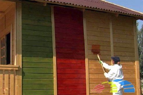 Покраска деревянного дома от компании БобрДом
